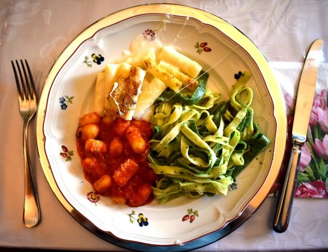 Gnocchi, rigatoni and tagliatelle on a plate