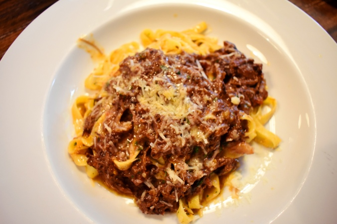 ox cheek in a tomato sauce on thin ribbons of fresh pasta